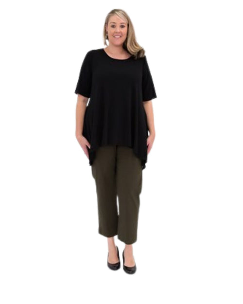 Soft Knit Tunic With Peaked Hem  -Black