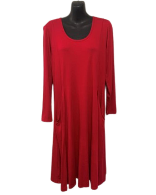 Teesa Long Sleeve Knit Tunic Dress -  Red -  Size 12 - 26