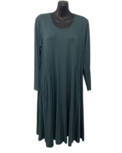 Teesa Long Sleeve Knit Tunic Dress - Green -  Size 12 -26