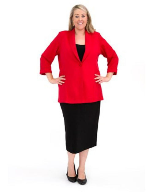Tailored Ponte Jacket - Red - Size 12-26