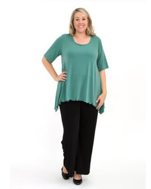 Soft Knit Tunic With Peaked Hem  - Green