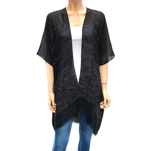 Horizontal Sequin Cape/ Cover Up - Black