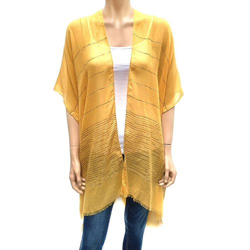 Horizontal Sequin Cape/ Cover Up - Mustard