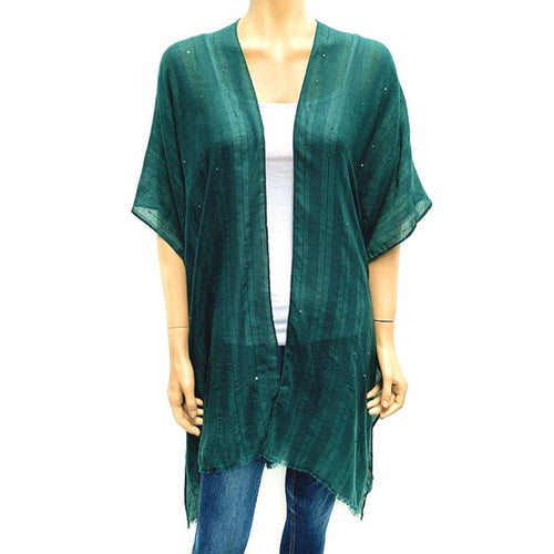 Horizontal Sequin Cape/ Cover Up -Green