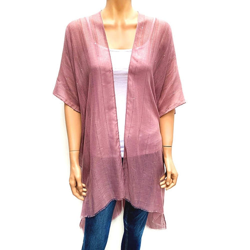 Horizontal Sequin Cape/ Cover Up - Pink