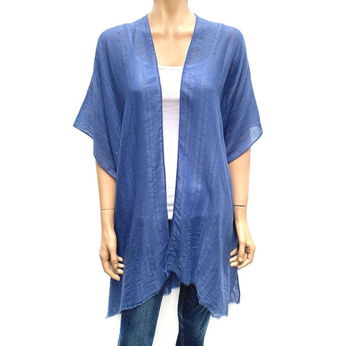 Horizontal Sequin Cape/ Cover Up - Blue