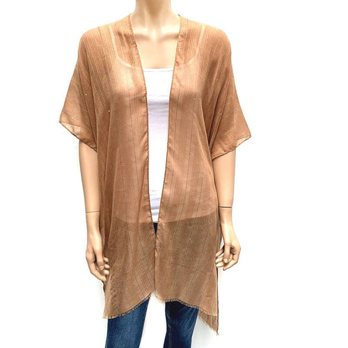 Horizontal Sequin Cape/ Cover Up - Tan
