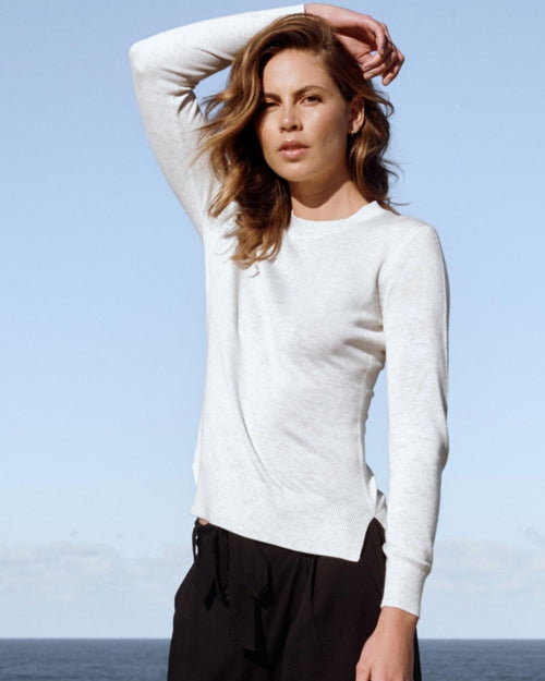 Bamboo Crew Neck Knit - Soft Marle