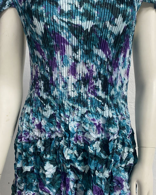 Floral Teal Pleat Dress