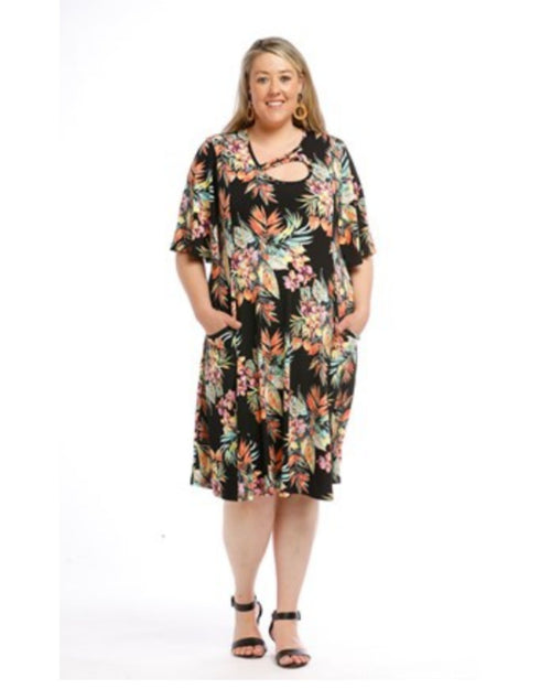 Shirley Keyhole Dress w/ Pockets - Floral - last size 14
