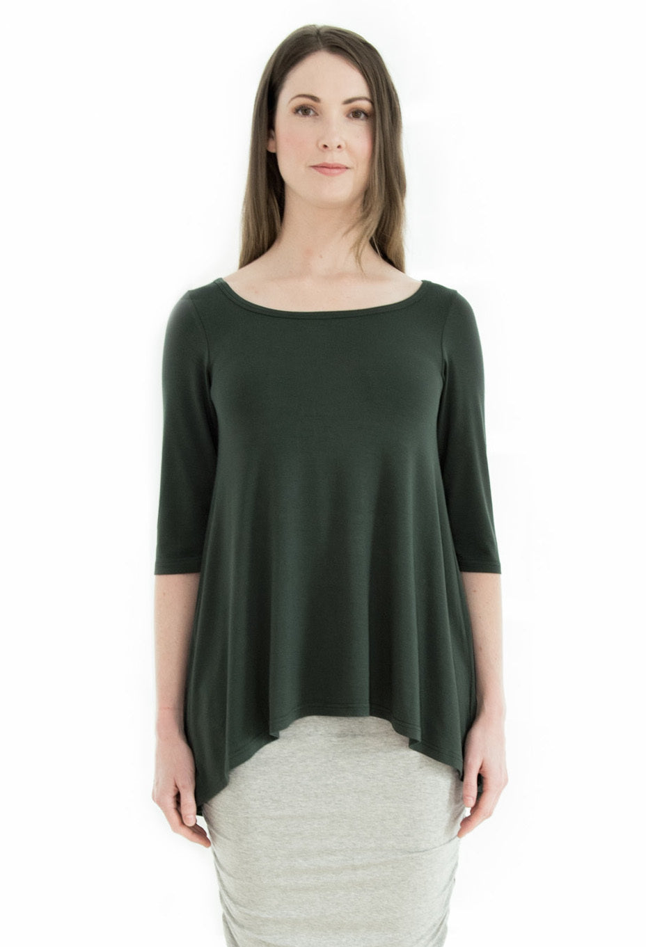Bamboo High Low Hem Top - Forest Green