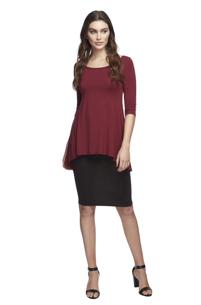 Bamboo High Low Hem Top -Wine