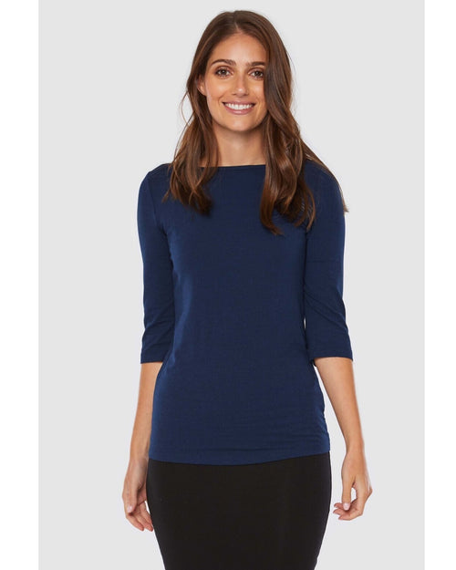 Ada Bamboo Boatneck Top -Navy- size 12-22