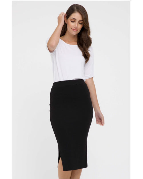 Ribbed Split Skirt- Black