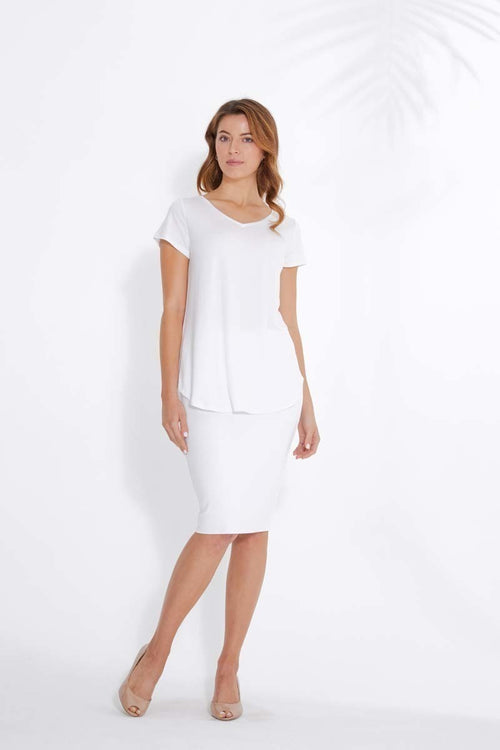 Bamboo V-Neck-Tee -White