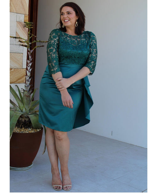 Rebecca Lace Sateen Dress - Green