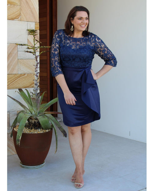 Rebecca Lace Sateen Dress - Navy