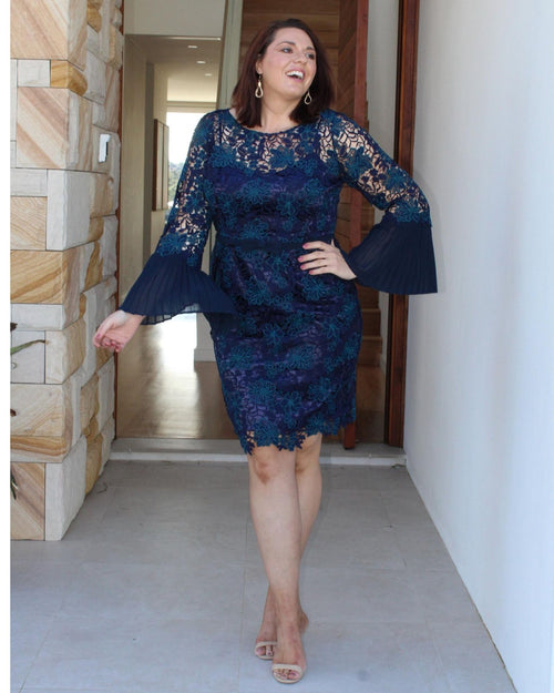 Helen Lace Evening Dress - Navy