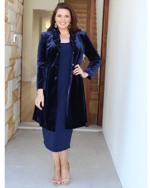Luxurious Velvet Evening Jacket - Navy