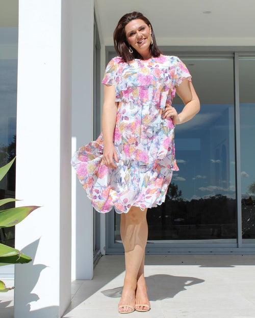 Shelley Floral Ruffle Dress last size 16