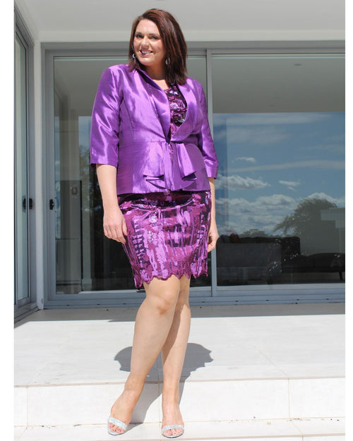 Dellie Sateen Jacket & Dress Set - Purple