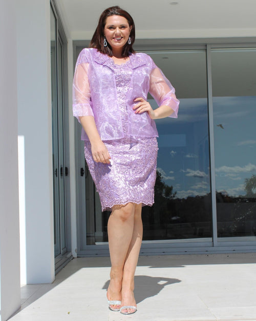 Lace Dress With Sequin Detail & Organza Evening Jacket - Lavendar