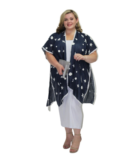Cotton Embroidery Cover Up - Navy