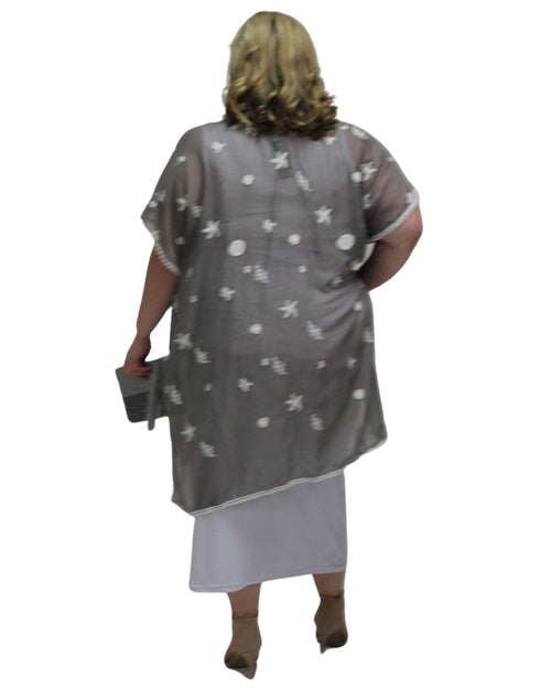 Cotton Embroidery Cover Up - Silver Grey