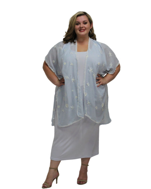 Cotton Embroidery Cover Up -Soft Blue