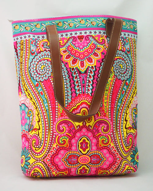 Print Tote - Pink/Yellow