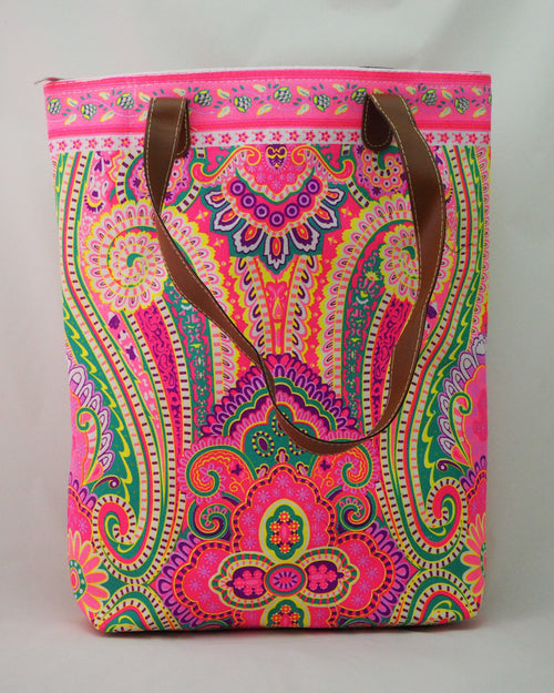 Print Tote - Pink/Green