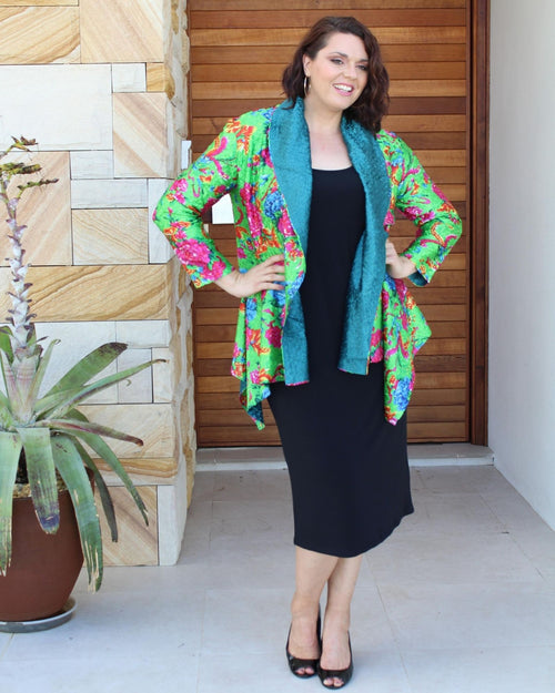 Silk Evening Jacket -Bright floral