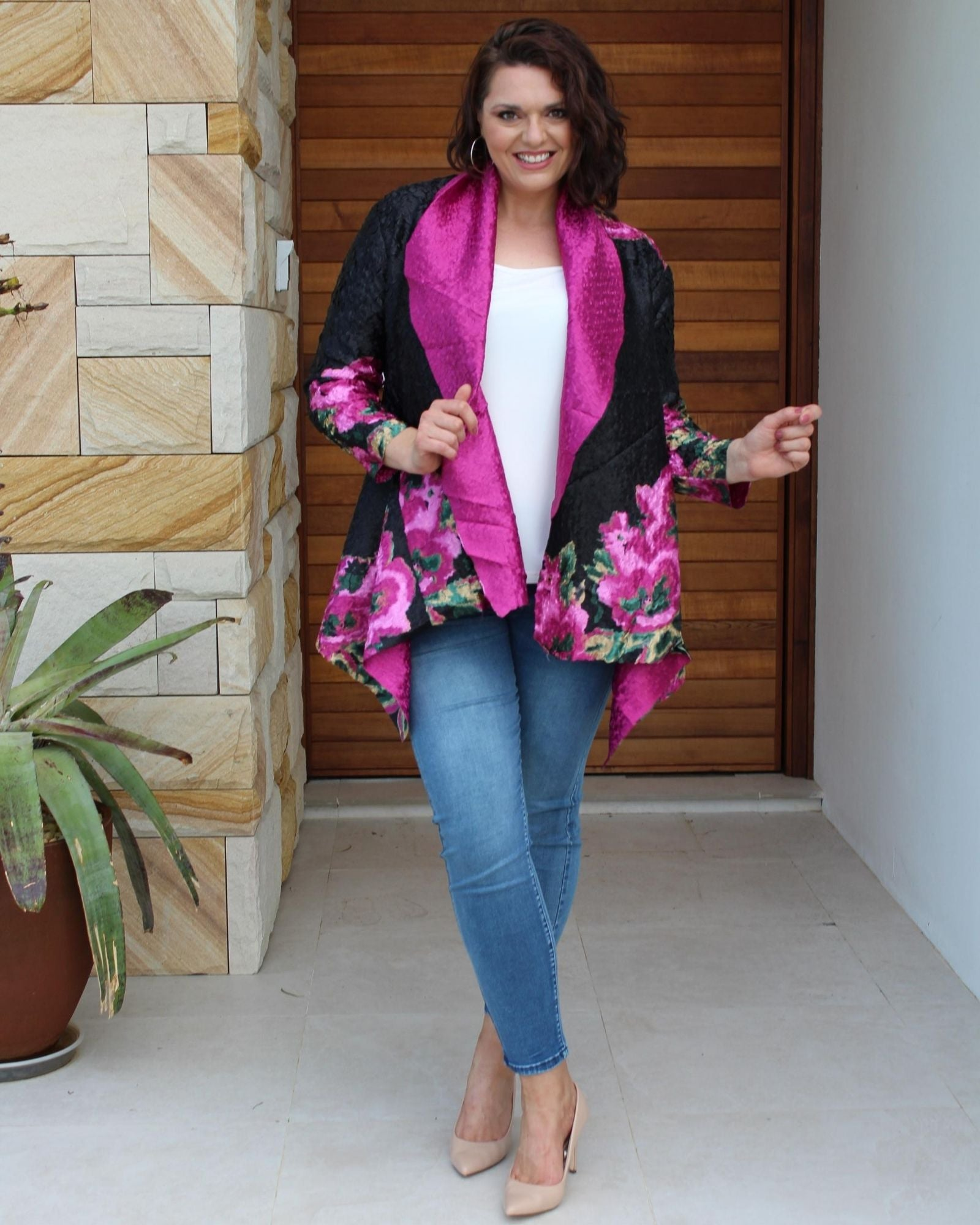 Silk Evening Jacket - Floral Pink