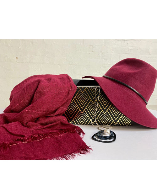 3 Piece Gift Set Berry Hat, Scarf & Necklace