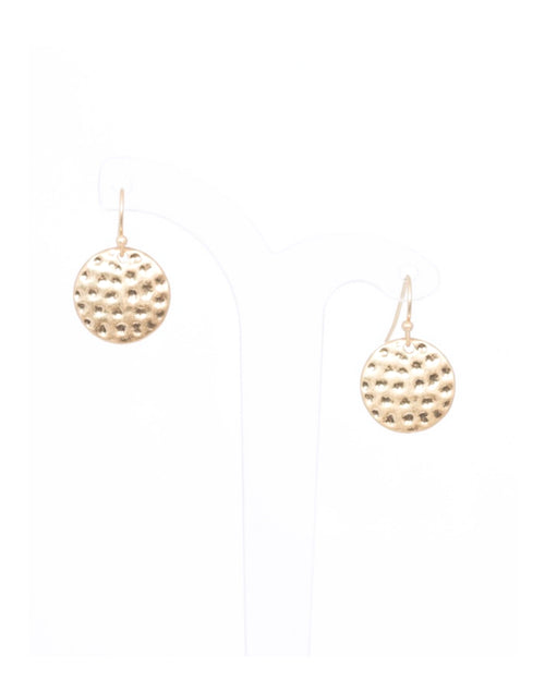 Gold Mini Beaten Disk Earrings
