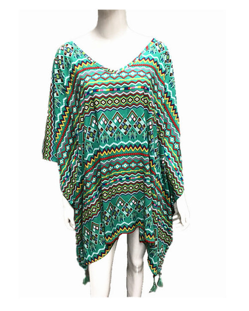 Green Zig zag Print V Neck Short Kaftan - Green