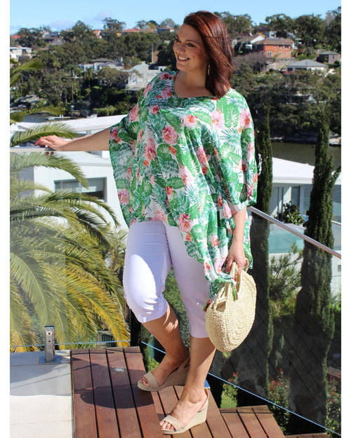 Green Palm Print V Neck Long Top
