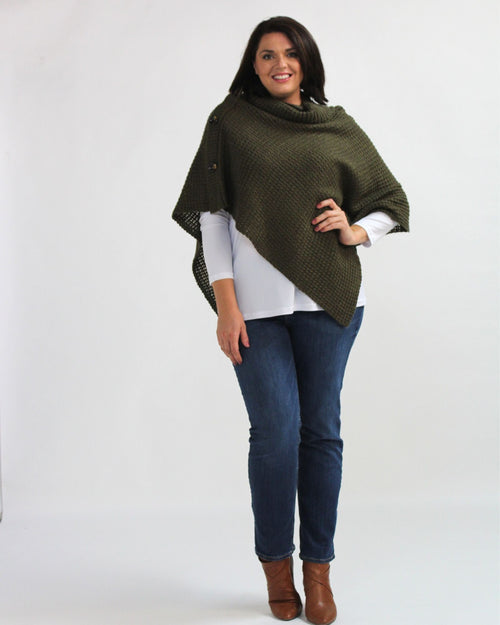 Three Button Poncho - Olive Green