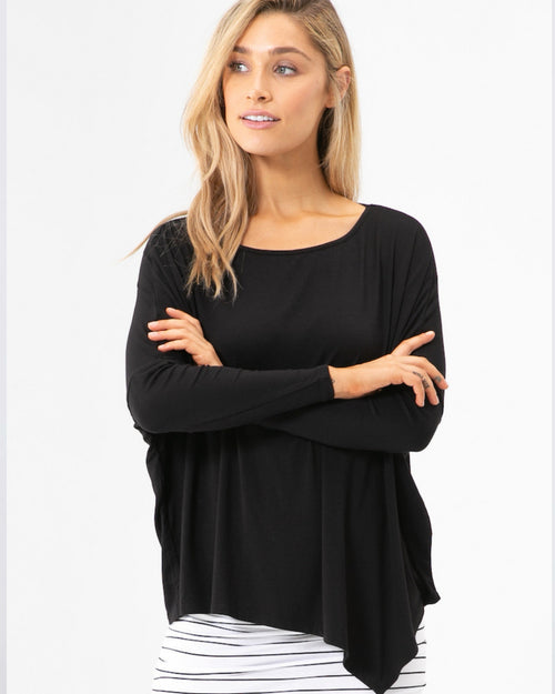 Relaxed Boat Neck Top - Black- Size 8-22