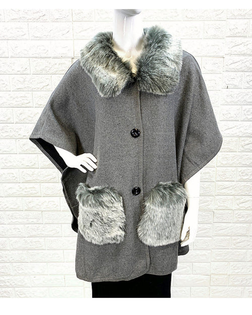 Lux Poncho Coat With Pockets -Grey