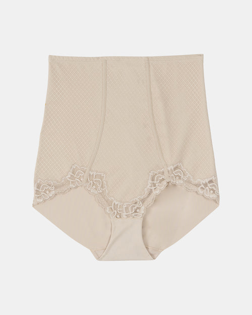 Whisper Firm Control High Waist Lace Brief -Nude