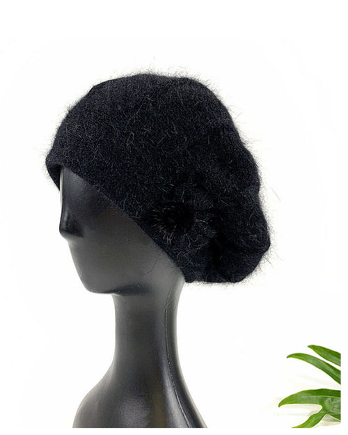Lux Angora Beanie with Pompom Bow Detail
