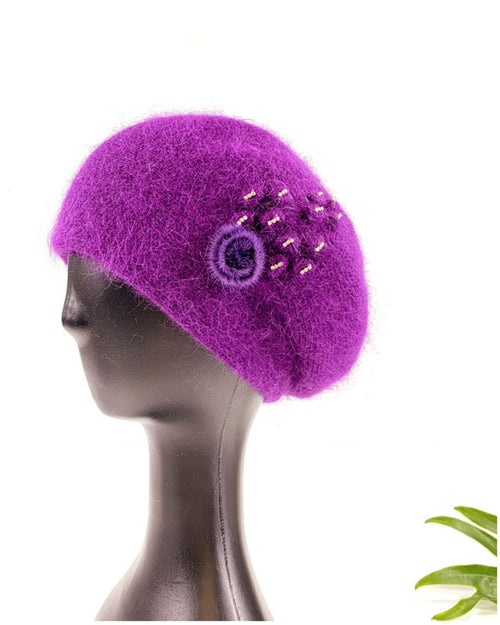 Lux Angora Beanie with Diamante and Pompom Side Deco