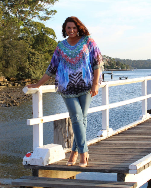 Beaded Blue Zebra Kaftan Top