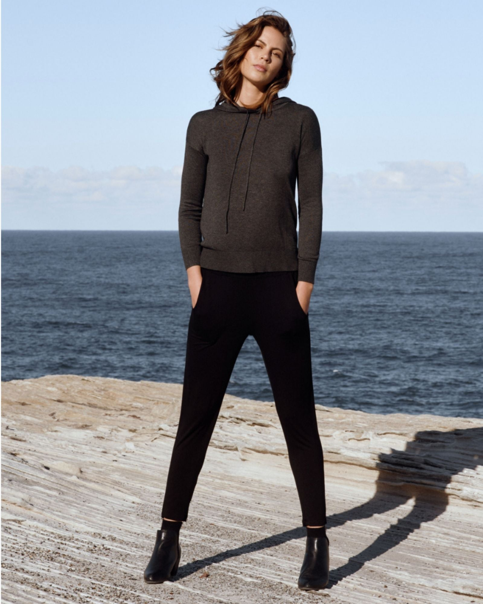 Bamboo Knit Hoodie-Charcoal