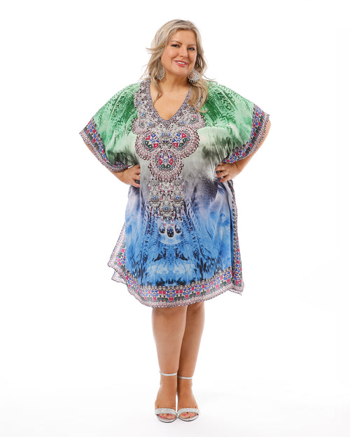 Peacock Silk Kaftan-Short- Size 14-22