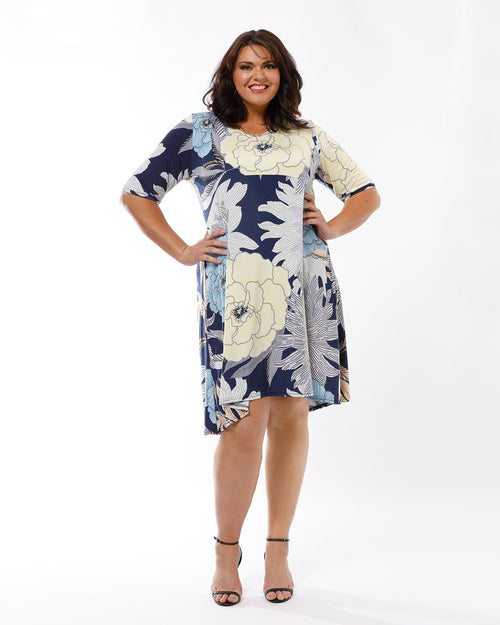 Blue Floral Knit Dress  - Print