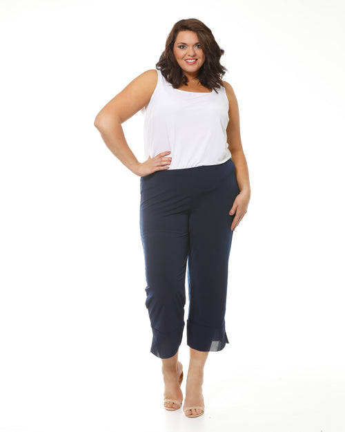 Crop Ayva Chiffon Pants -Navy
