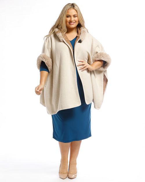 Multi Pack Lux Poncho Coat With Hood Charcoal & Sand