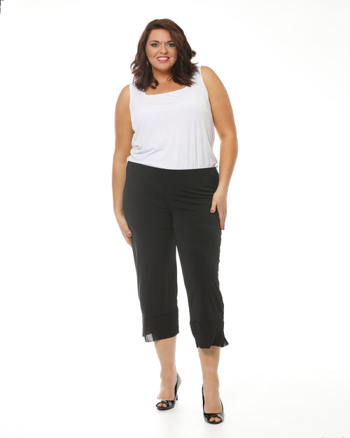 Crop Ayva Chiffon Pants -Black